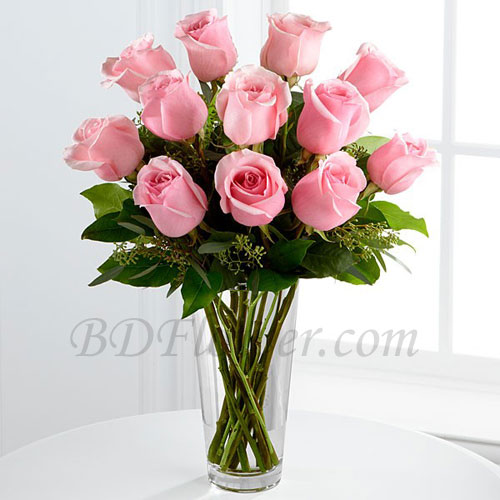 Send 12 pcs imported pink roses in vase to Bangladesh