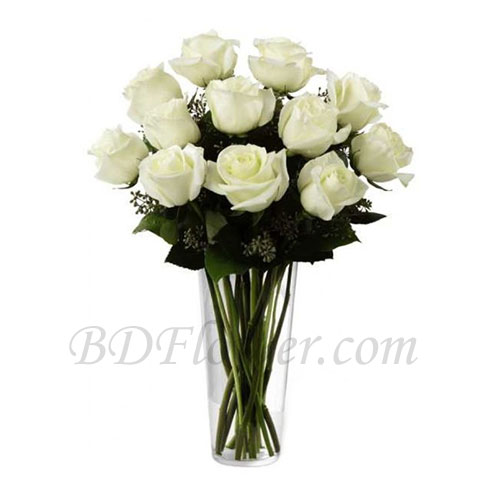 Send 1 dozend imported white roses in vase to Bangladesh