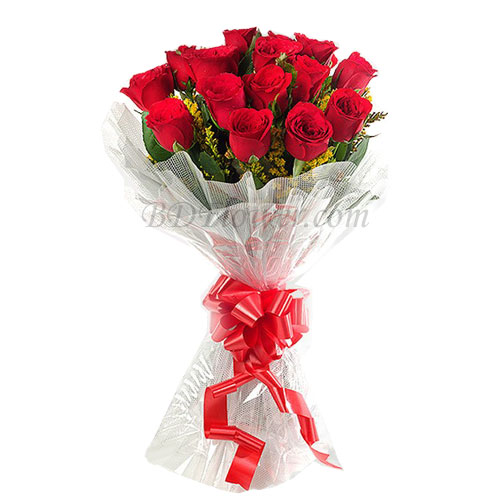 Send 14 pcs red roses in bouquet to Bangladesh