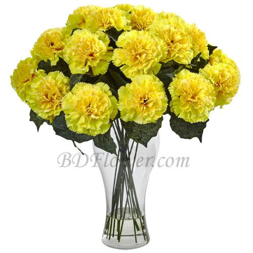 Send 16 pcs yellow carnations to Bangladesh