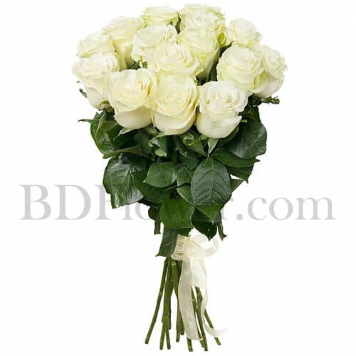 Send 15 pcs imported white roses in bouquet to Bangladesh
