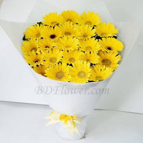 Send 24 pcs yellow gerbera in bouquet to Bangladesh