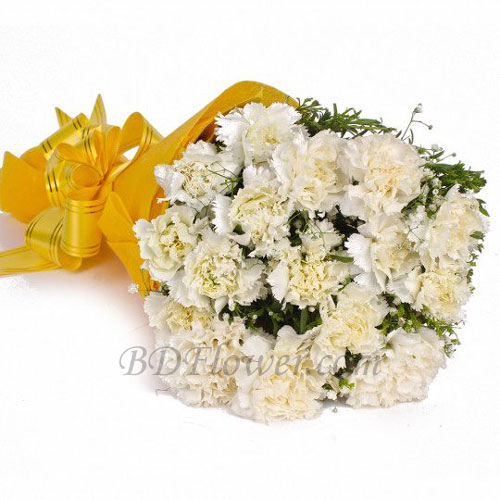 Send 15 pcs white carnations in bouquet to Bangladesh