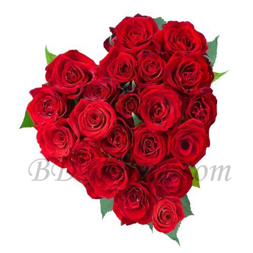 Send 20 pcs red roses in heart shape to Bangladesh