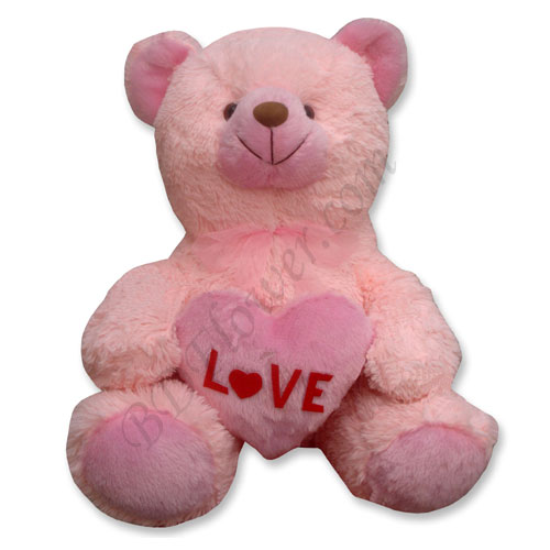 Send 24 inch pink teddy bear with heart shape to Bangladesh
