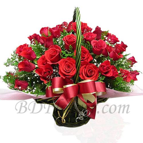 Send 24 pcs red roses in basket to Bangladesh