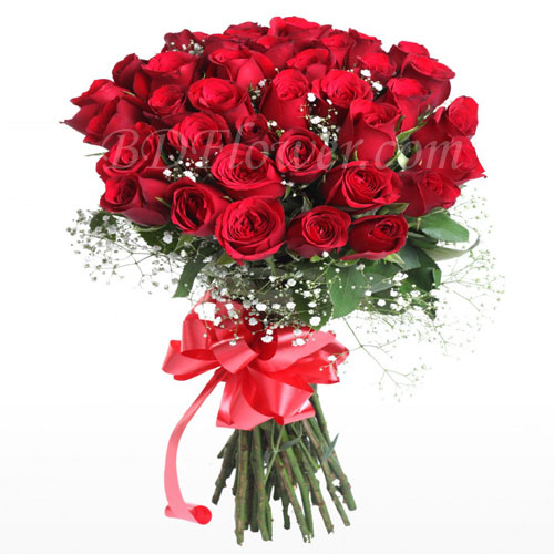 Send 3 dozen red roses in bouquet to Bangladesh