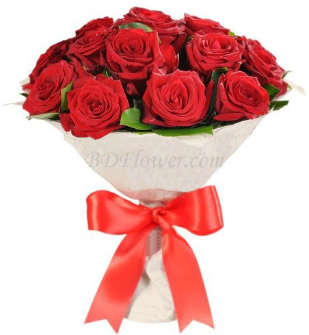 Send 16 pcs red roses in bouquet