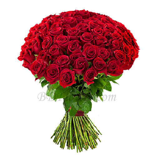 Send 80 pcs red roses in bouquet to Bangladesh