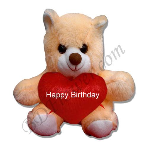 Send small off white happy birthday bear to Bangladesh