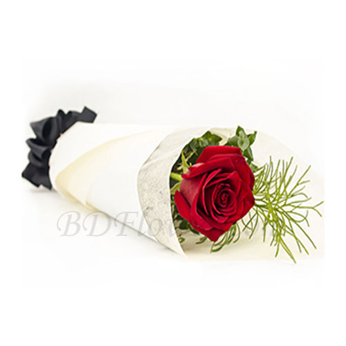 Send romantic single red rose in bouquet to Bangladesh