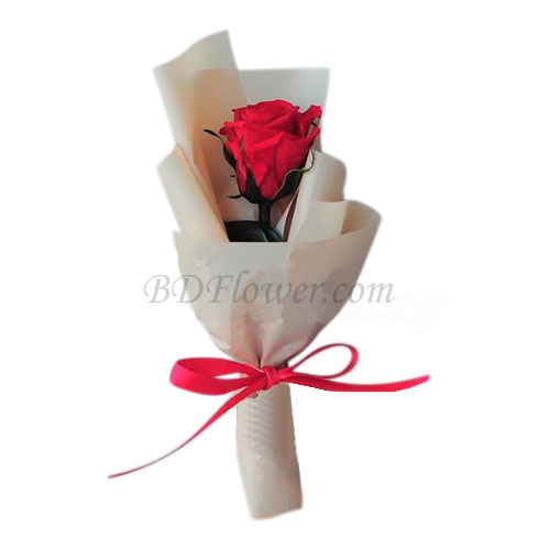 Send single red rose in bouquet to Bangladesh