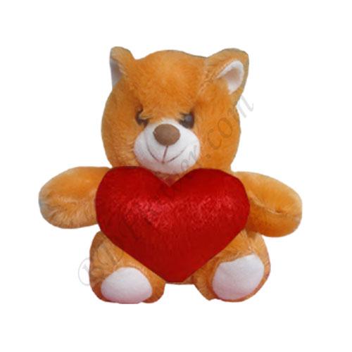 Send small brown bear with heart shape to Bangladesh