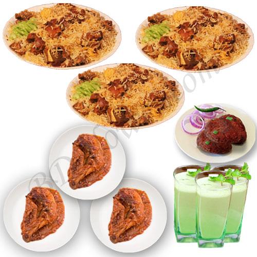 Send star kachchi biryani with jali kabab, chicken roast and borhani to Bangladesh