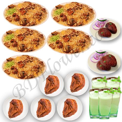 Send star kachchi biryani with chicken roast, jali kabab and borhani to Bangladesh