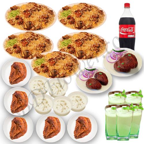 Send star kachchi biryani with chicken roast, firni, borhani, jali kabab and cocacola to Bangladesh