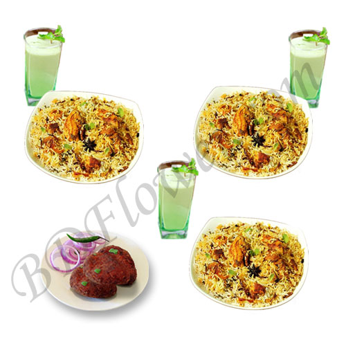 Send chicken biryani with jali kabab and borhani to Bangladesh