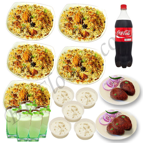 Send chicken biryani with jali kabab, firni, borhani and cocacola for five person to Bangladesh