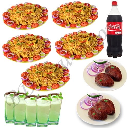 Send star chicken khichuri with jali kabab, cocacola and borhani for five person to Bangladesh