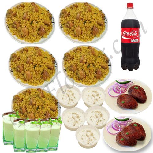 Send mutton khichuri with jali kabab, firni, borhani and cocacola to Bangladesh