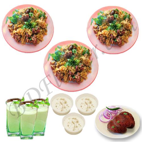 Send mutton tehari with jali kabab, firni and borhani to Bangladesh