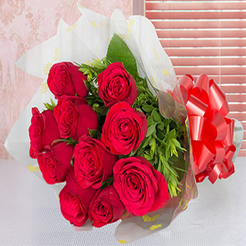 Send 10 pcs red roses in bouquet to Bangladesh