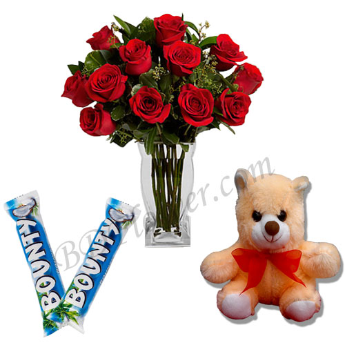 Send teddy bear with chocolates and red roses to Bangladesh