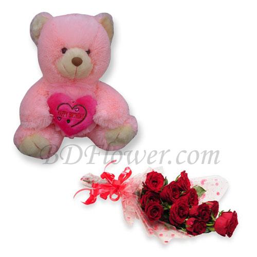 Send roses and bear to Bangladesh