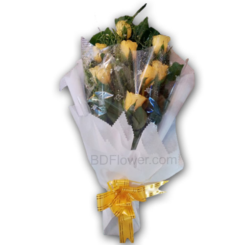 Send 10 pcs imported yellwo roses in bouquet to Bangladesh