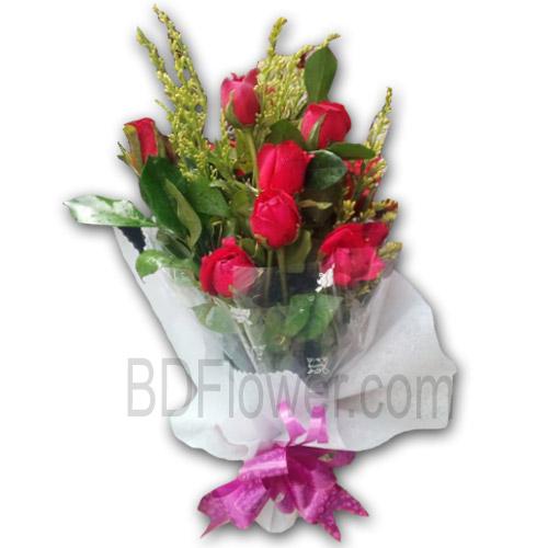 Send 12 pcs red roses to Bangladesh