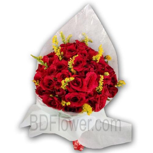 Send 50 pcs red roses to Bangladesh