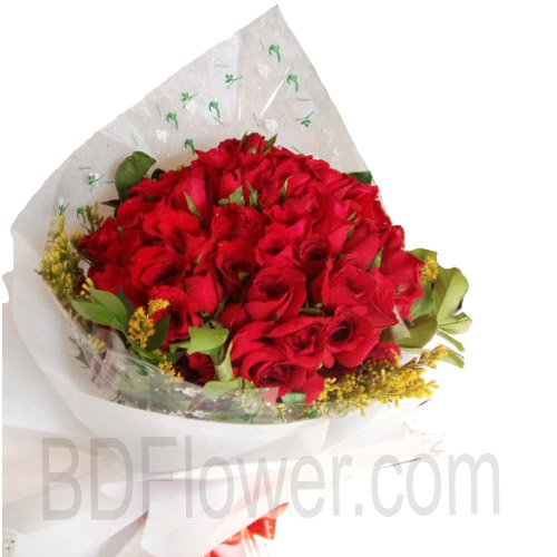 Send 60 pcs red roses to Bangladesh
