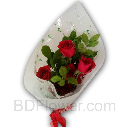 Send 8 pcs red roses in bouquet to Bangladesh
